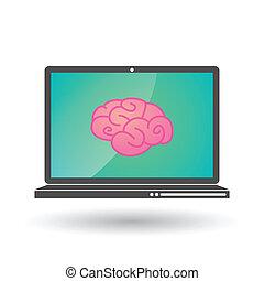 hjerne, laptop