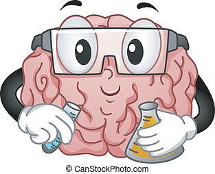 hjerne, mascot, gør, kemi, experiment