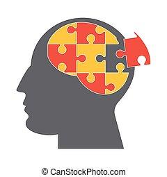 hjerne, opgave, ikon, stykker