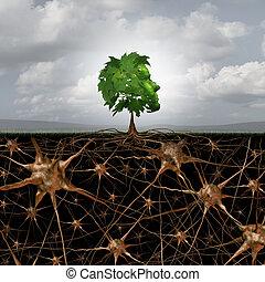 hjerne, sammenhænge, neuron