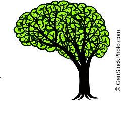 hjerne, træ, illustration, connectivity, konstruktion, logo
