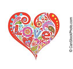 hjerte, abstrakt, constitutions, farverig