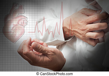 hjerte anfald, og, hjerte, slå, kardiogram, baggrund
