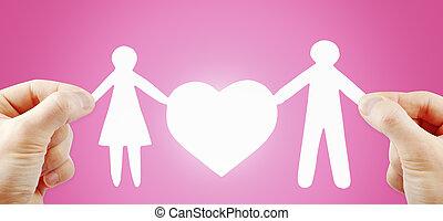 hjerte, avis, familie, hænder