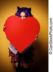 hjerte, bag efter, skjul