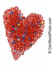 hjerte, beads, rød, galss