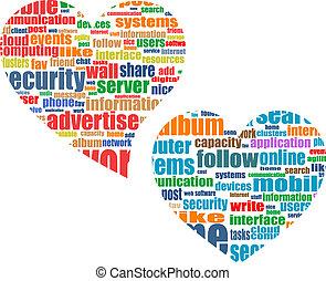 hjerte, begreb, glose, markedsføring, sociale, etiketten, medier, sky