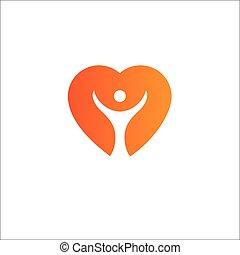 hjerte, begreb, medicinsk, logotype, sundhed, logo, template.cardiology, icon., omsorg