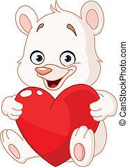 hjerte, bjørn, holde, teddy