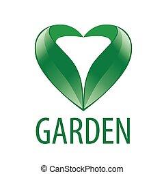hjerte, blade, vektor, grønne, logo