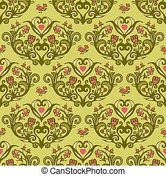 hjerte, blomst mønster, seamless, vektor, forår, fugl