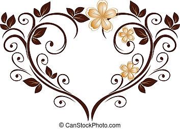 hjerte, blomst, trommen, gennembrudt