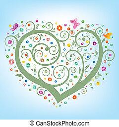 hjerte, blomstrede