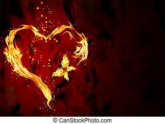 hjerte, brændende