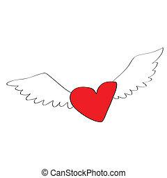 hjerte, cartoon, engel