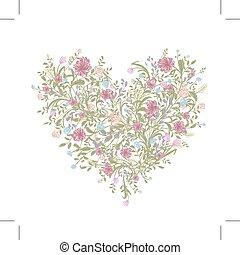 hjerte, constitutions, bouquet, din, facon, blomstret konstruktion