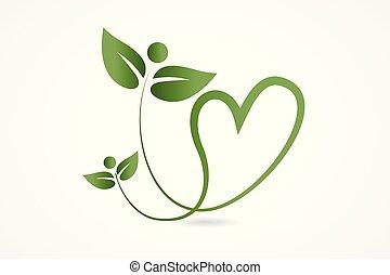 hjerte, constitutions, natur, sundhed, det leafs, logo