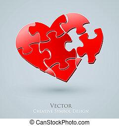 hjerte, constitutions, stemningsfuld, forbindelsen, væv, ide, kreative, vektor, begrebsmæssig, design., ikon, search.