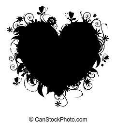 hjerte, din, blomstret konstruktion, facon