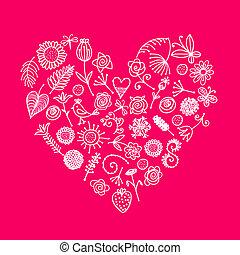 hjerte, din, blomstret konstruktion, ornamentere, facon