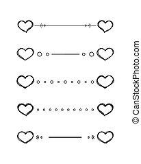 hjerte, dividers, vektor, grifle, kanter