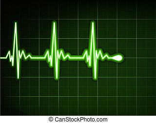 hjerte, ekg., graph., eps, beat., grønne, 8