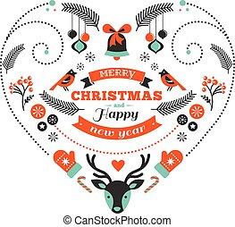 hjerte, elementer, konstruktion, fugle, jul