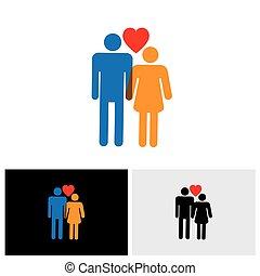 hjerte, elskere, og, ), (, par, dreng, symbol, unge, tegn, brudgom, brud, vektor, kone, pige, eller, husband, ikon
