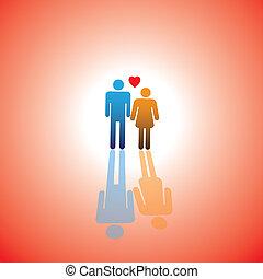 hjerte, elskere, og, par, dreng, unge, icon(symbol), tegn, brudgom, brud, kone, pige, eller, husband