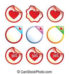 hjerte, etiketter, stickers, eller