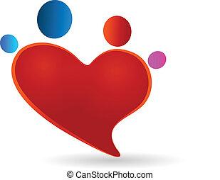 hjerte, familie, sammenslutning, illustration, vektor, beregner, representation, logo, ikon