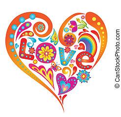 hjerte, farverig