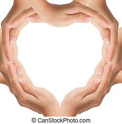 hjerte, forarbejde, facon, hænder