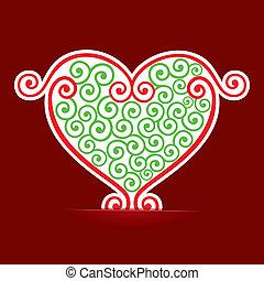 hjerte, forarbejde, konstruktion, seamless