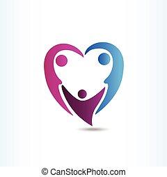 hjerte form, familie, logo