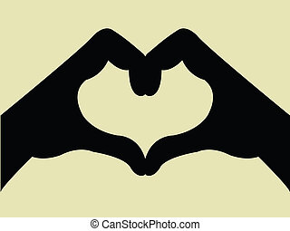 hjerte form, gestus, hånd