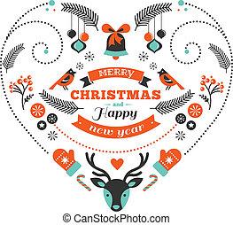 hjerte, fugle, elementer, rådyr, konstruktion, bånd, jul