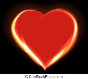 hjerte, glødende