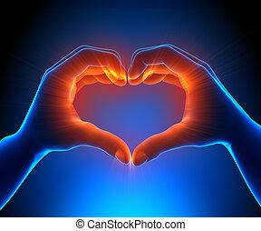 hjerte, glødende, hænder