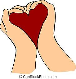 hjerte, greb rækker