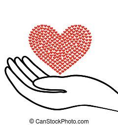 hjerte, hånd
