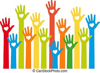 hjerte, hænder, farverig, vektor