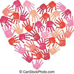 hjerte, handprint, vektor
