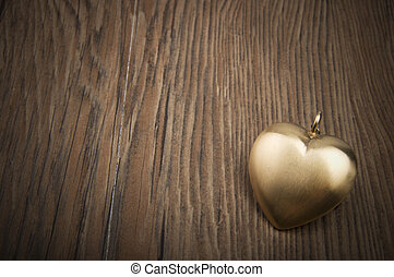 hjerte, heart., guld, valentine's, concept., greetings., nøgle, gamle, min, dag