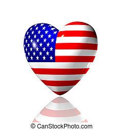 hjerte, hos, amerikansk. flag, tekstur, isoleret, på, en, hvid
