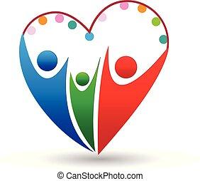 hjerte, ikon, vektor, familie, logo