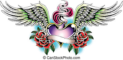 hjerte, ild, emblem