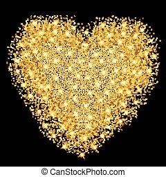 hjerte, illustration., guld, valentines, hils, particles., vektor, stjerner, glade, glitre, dag, card.