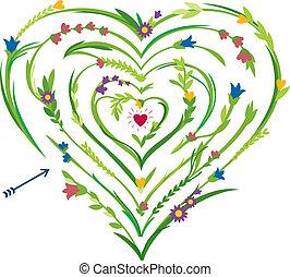 hjerte, labyrint, formet, blomstrede