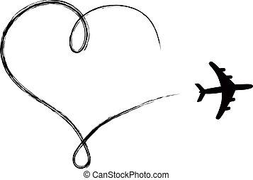 hjerte, lavede, formet, luft, flyvemaskine, ikon